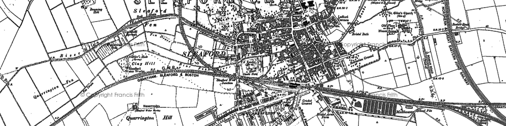 Old map of Sleaford in 1887