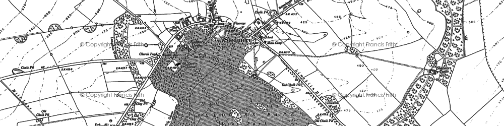 Old map of Sledmere in 1888