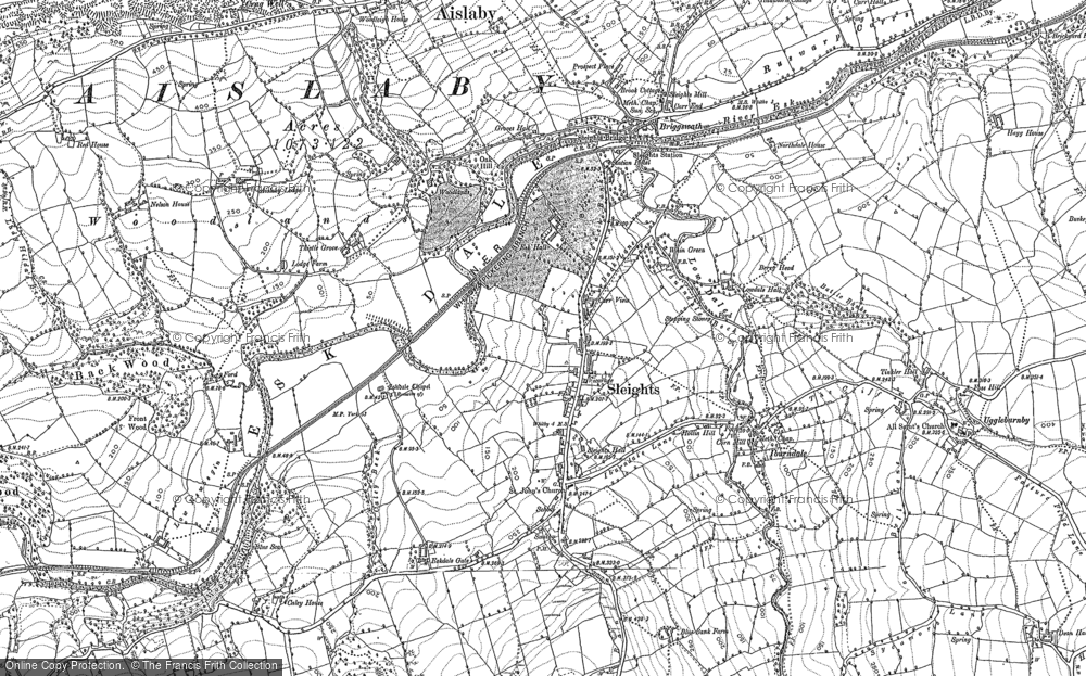 Old Map of Historic Map covering Aislaby Moor in 1892