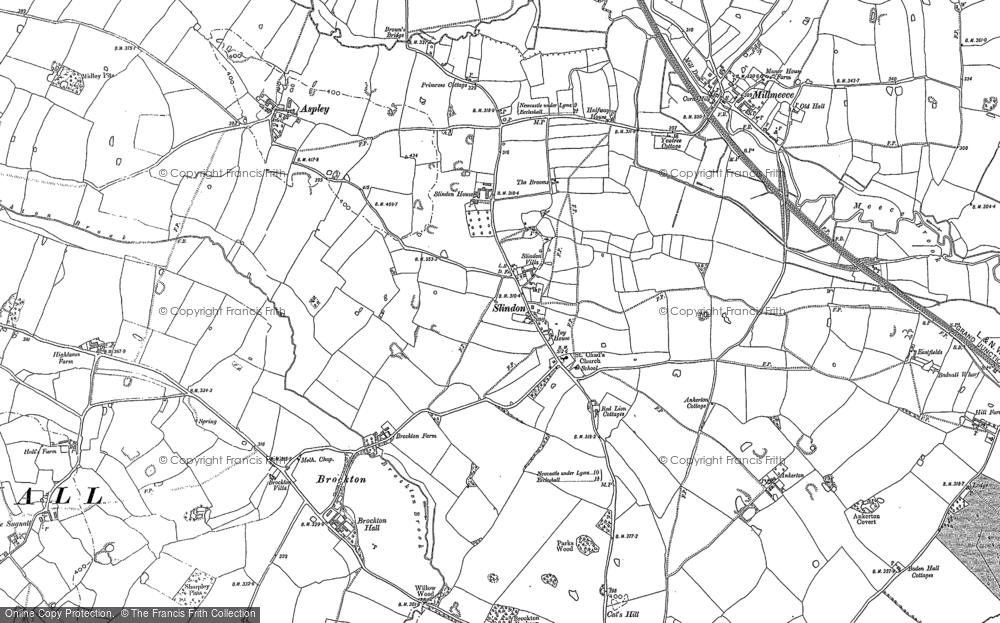 Old Map of Historic Map covering Aspley in 1879