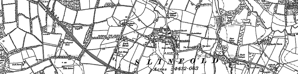 Old map of Slinfold in 1896