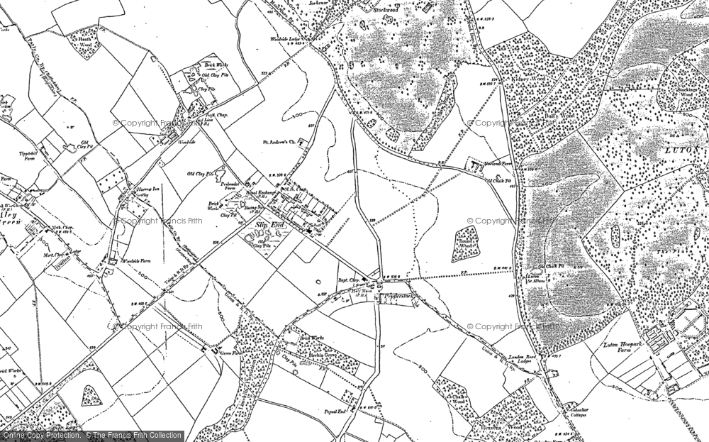 Old Map of Historic Map covering Stockwood Park in 1899