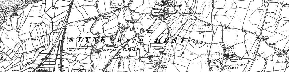 Old map of Slyne in 1889