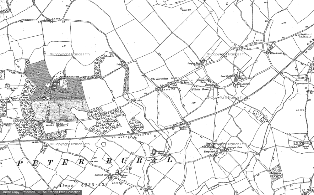 Old Map of Historic Map covering Astwick Manor in 1896