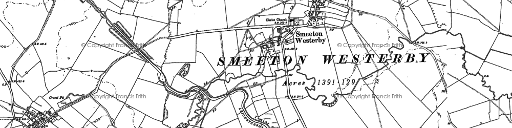 Old map of Smeeton Westerby in 1885
