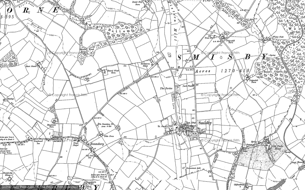 Old Map of Historic Map covering Annwell Place in 1900