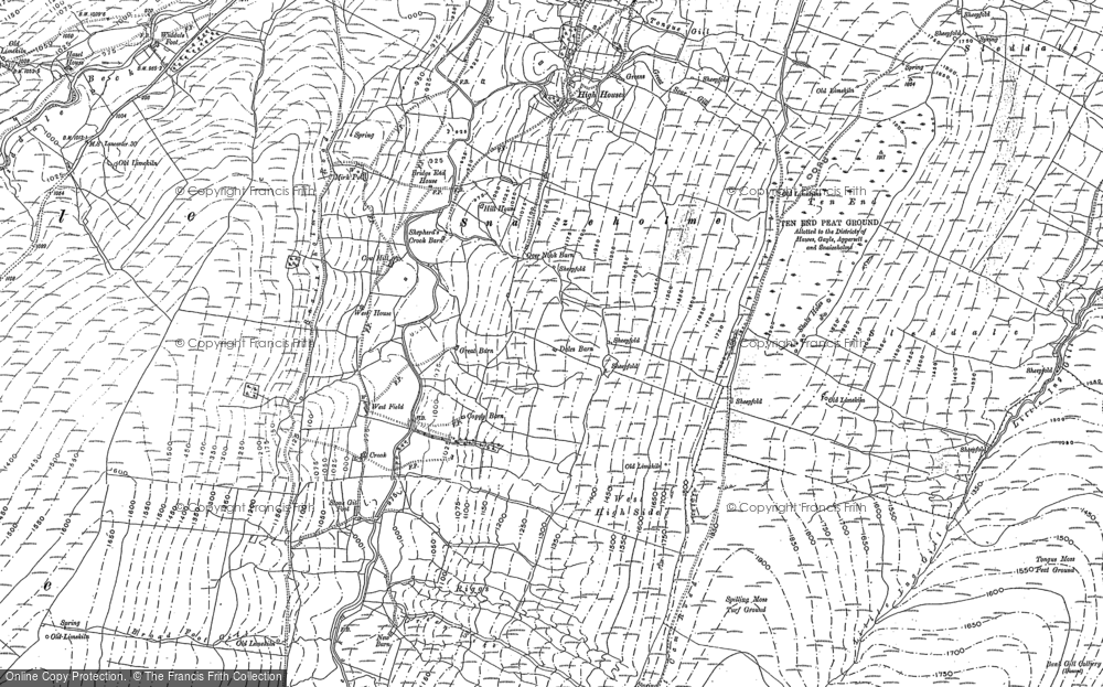 Old Map of Historic Map covering Widdale Head in 1907