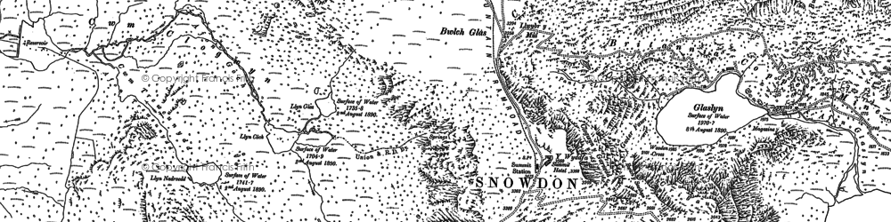 Old map of Snowdon in 1888