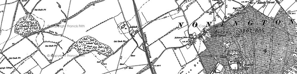 Old map of Ackholt in 1896