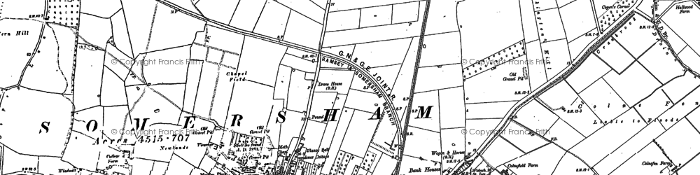 Old map of Somersham in 1900