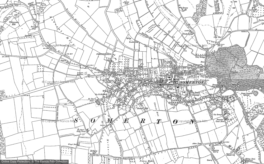 Old Map of Historic Map covering Badger's Cross in 1885
