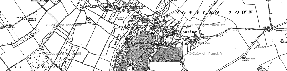 Old map of Sonning in 1898
