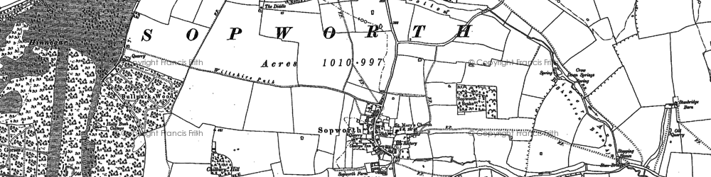 Old map of Badminton Down in 1899