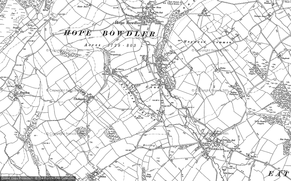 Old Map of Historic Map covering Woodgate Cott in 1882