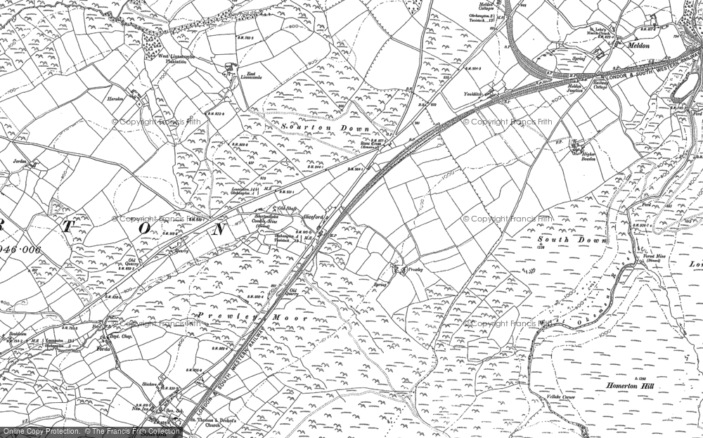 Old Map of Historic Map covering Linnacombe in 1884