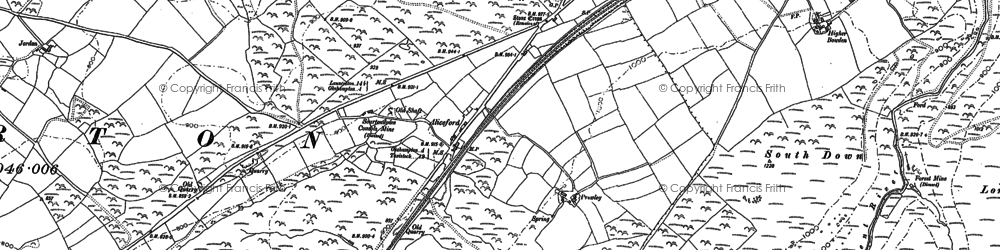 Old map of West Okement River in 1884