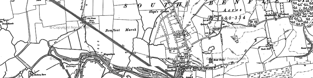 Old map of South Benfleet in 1895
