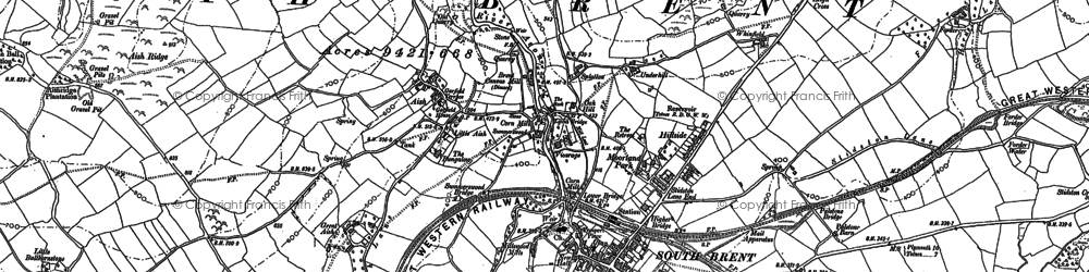 Old map of South Brent in 1886