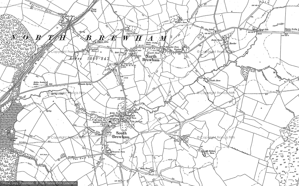 Old Map of Historic Map covering Aaron's Hill in 1884