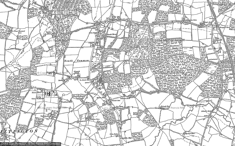 Old Map of Historic Map covering Balneath Wood in 1896