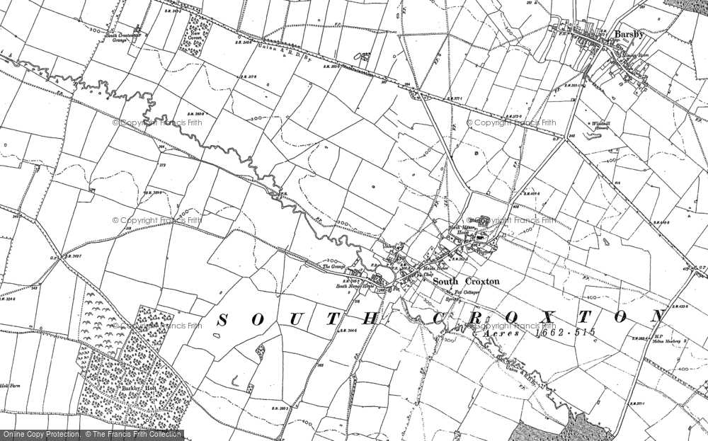 Old Map of Historic Map covering Barkby Holt in 1884