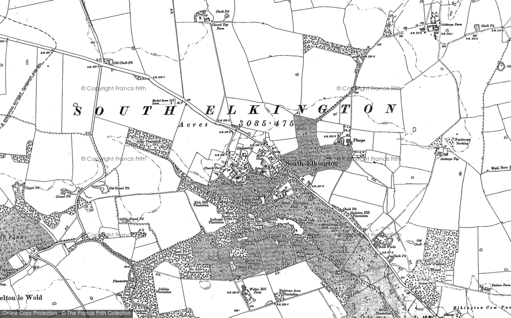 Old Map of Historic Map covering Ackthorpe Village in 1916