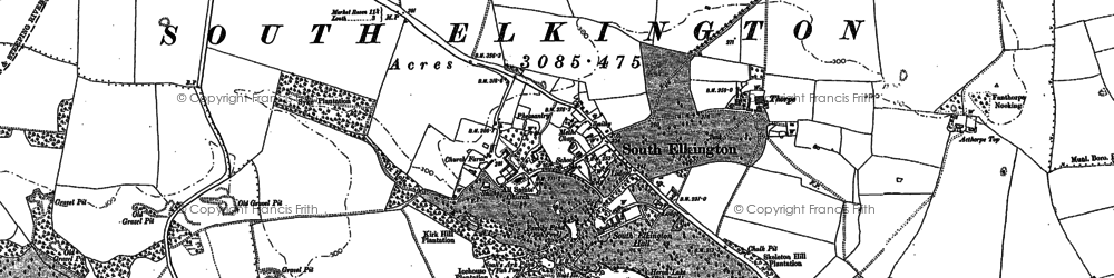 Old map of Ackthorpe Village in 1916