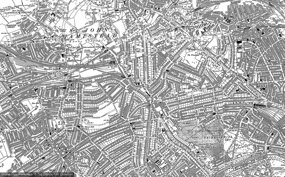 Old Map of Historic Map covering Swiss Cottage in 1894