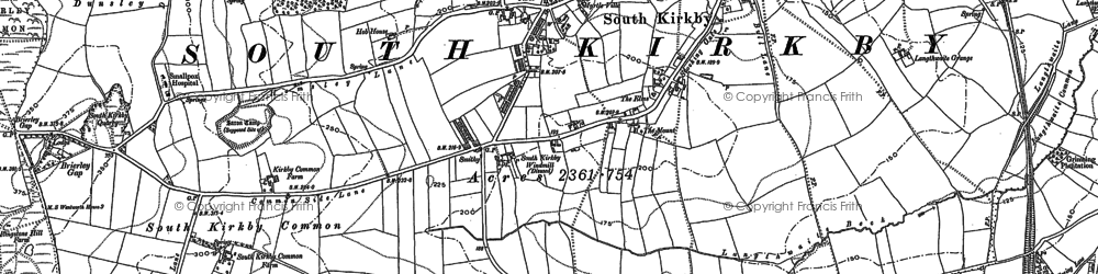 Old map of South Kirkby in 1891