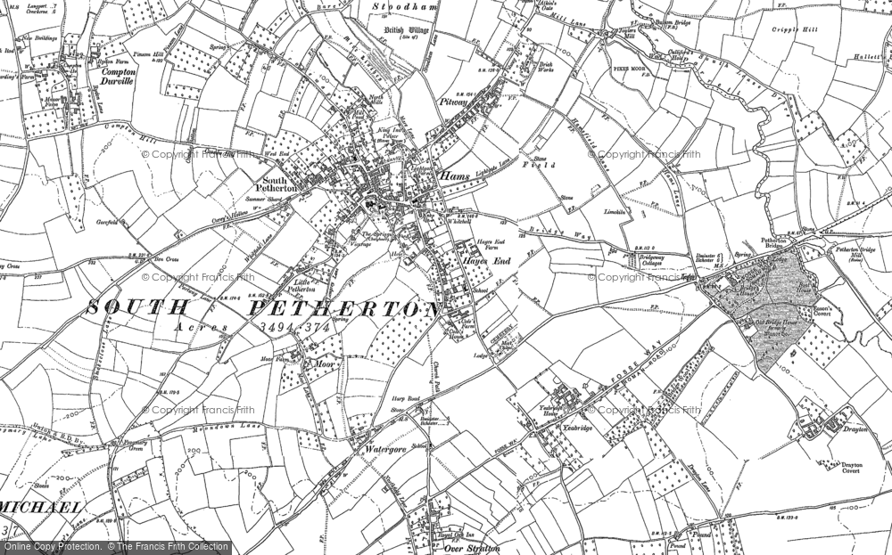 Map of South Petherton, 1886