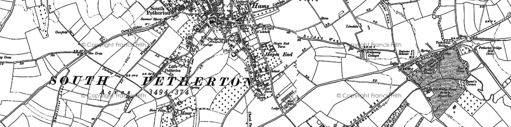 Old map of South Petherton in 1886