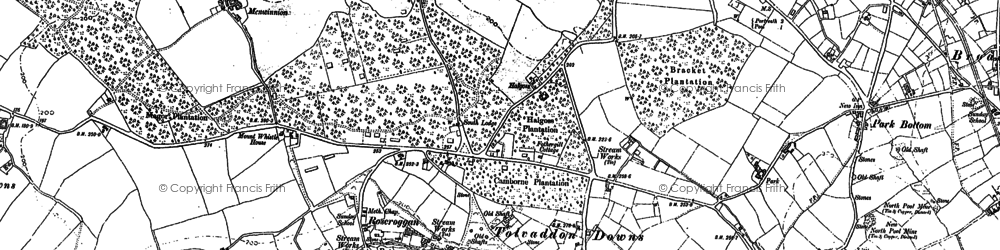 Old map of Tolvaddon Downs in 1878