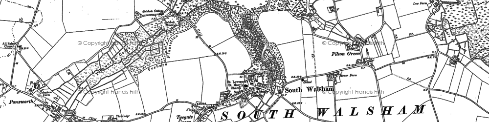 Old map of South Walsham in 1881
