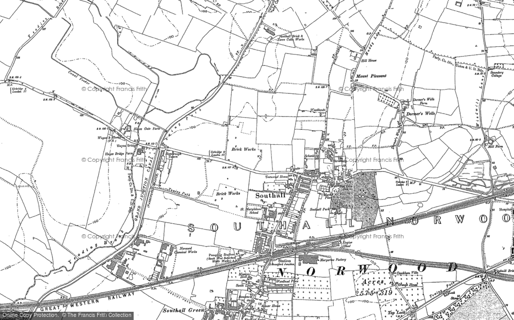 Map of Southall, 1894