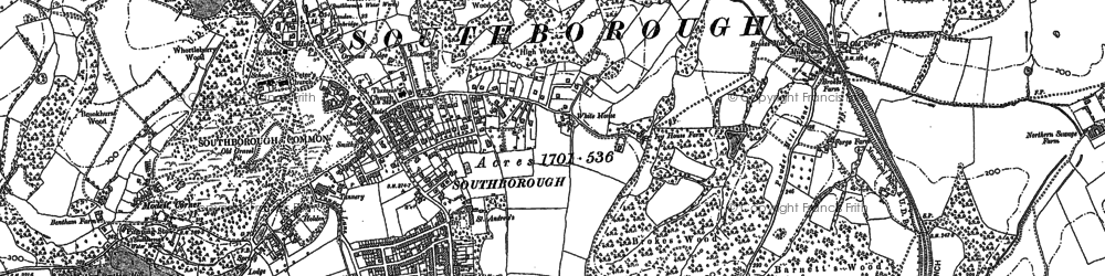Old map of Southborough in 1896