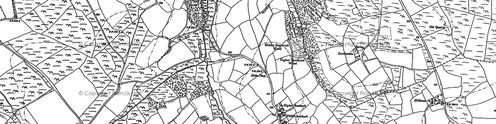 Old map of Ashbury Plantations in 1884