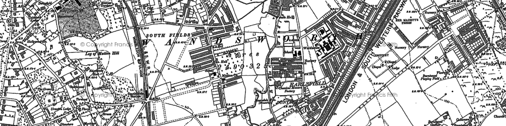 Old map of Southfields in 1894