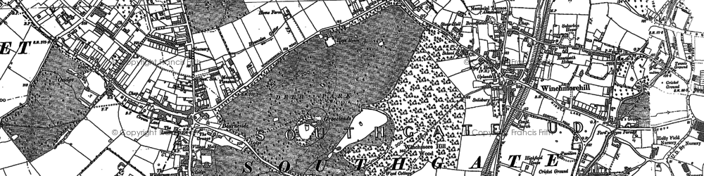Old map of Southgate in 1895