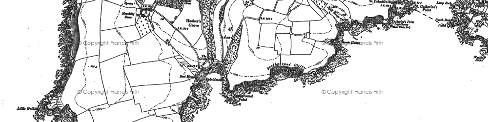 Old map of Pridmouth in 1906