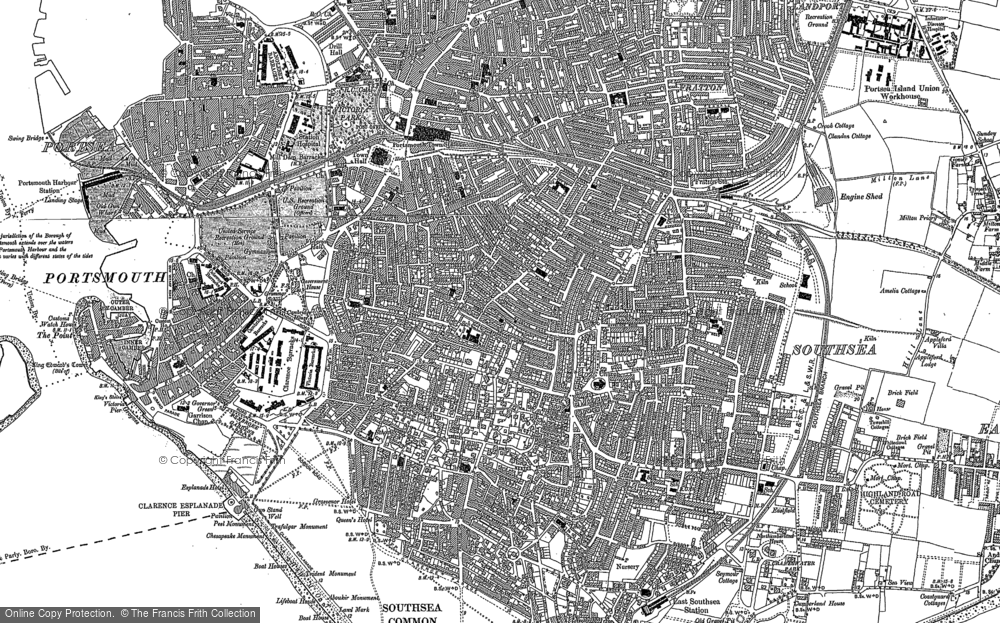 Old Map of Southsea, 1907 - 1908 in 1907