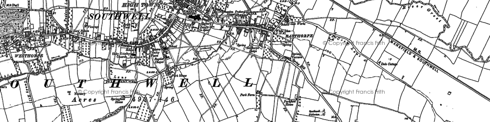 Old map of Southwell in 1883