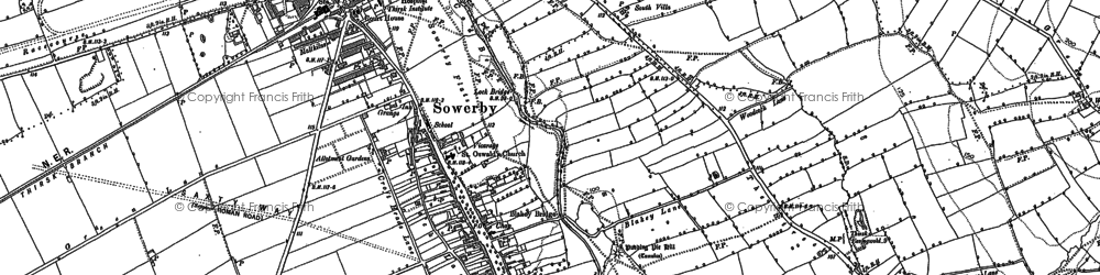 Old map of Sowerby in 1890