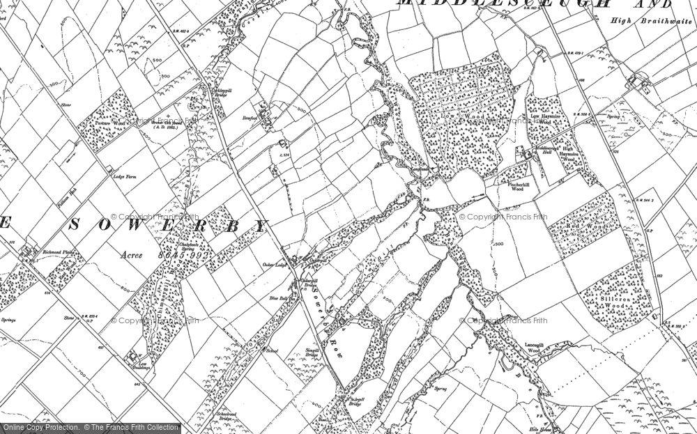 Old Map of Historic Map covering Whale Gill in 1898