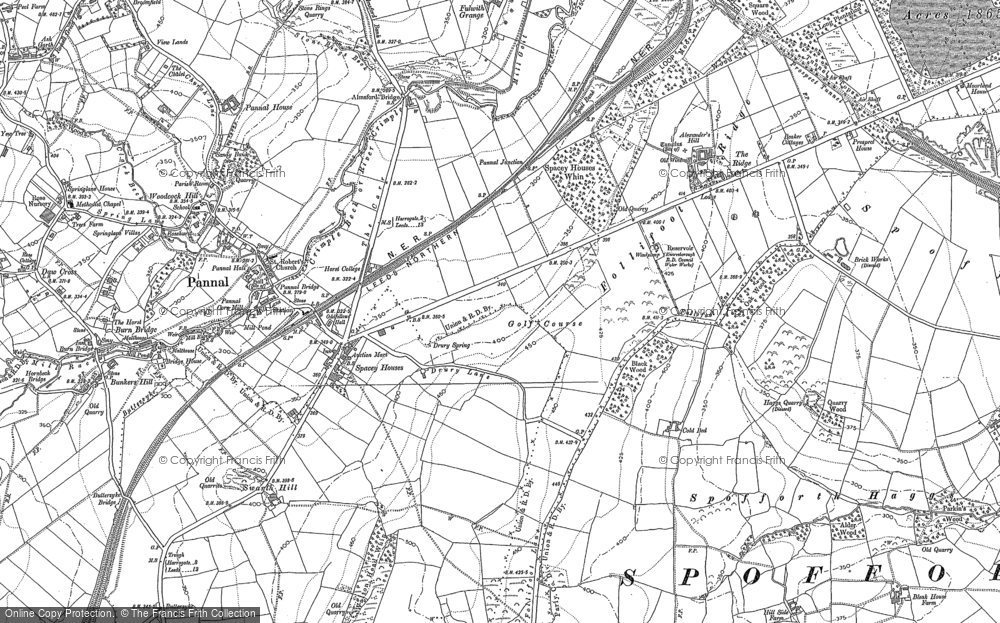 Old Map of Historic Map covering Almsford Br in 1888