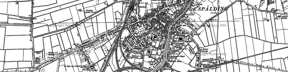 Old map of Spalding in 1887