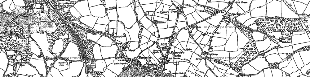 Old map of Sparrow's Green in 1908