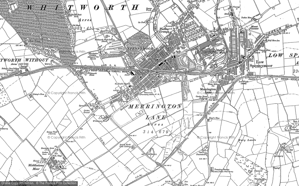 Old map of Spennymoor