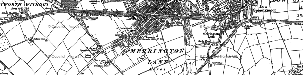 Old map of Spennymoor in 1896