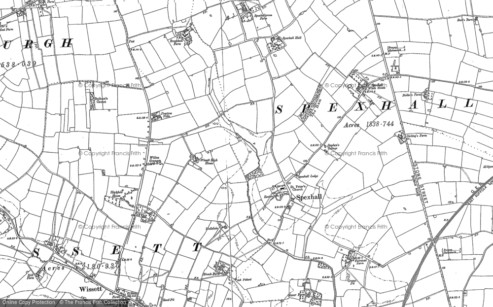 Old Map of Spexhall, 1883 - 1903 in 1883