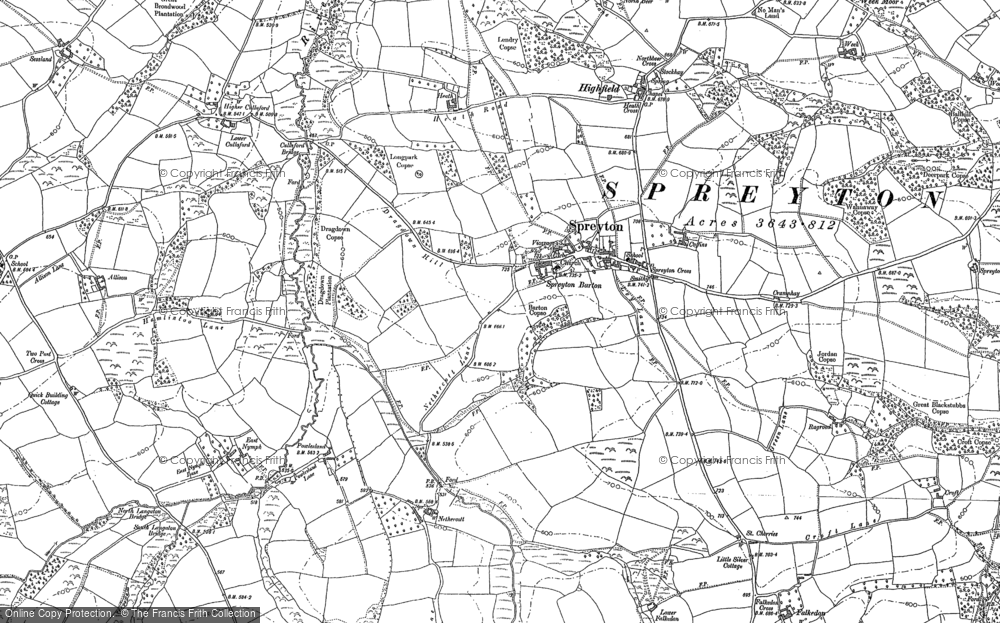 Old Map of Historic Map covering Woodhouse in 1886